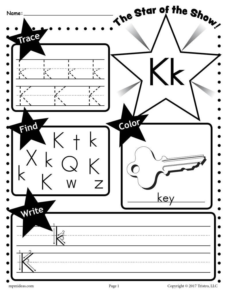 Letter K Tracing Worksheets Preschool Letter K Worksheet Tracing Coloring Writing & More