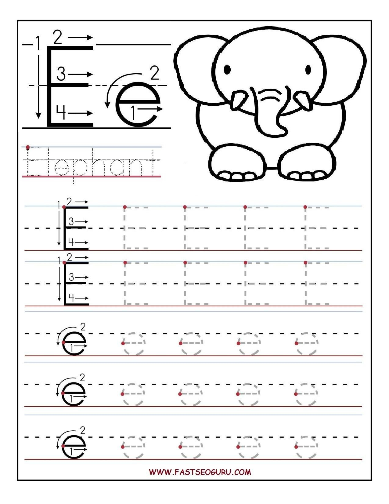 Letter K Tracing Worksheets Preschool Printable Letter E Tracing Worksheets for Preschool