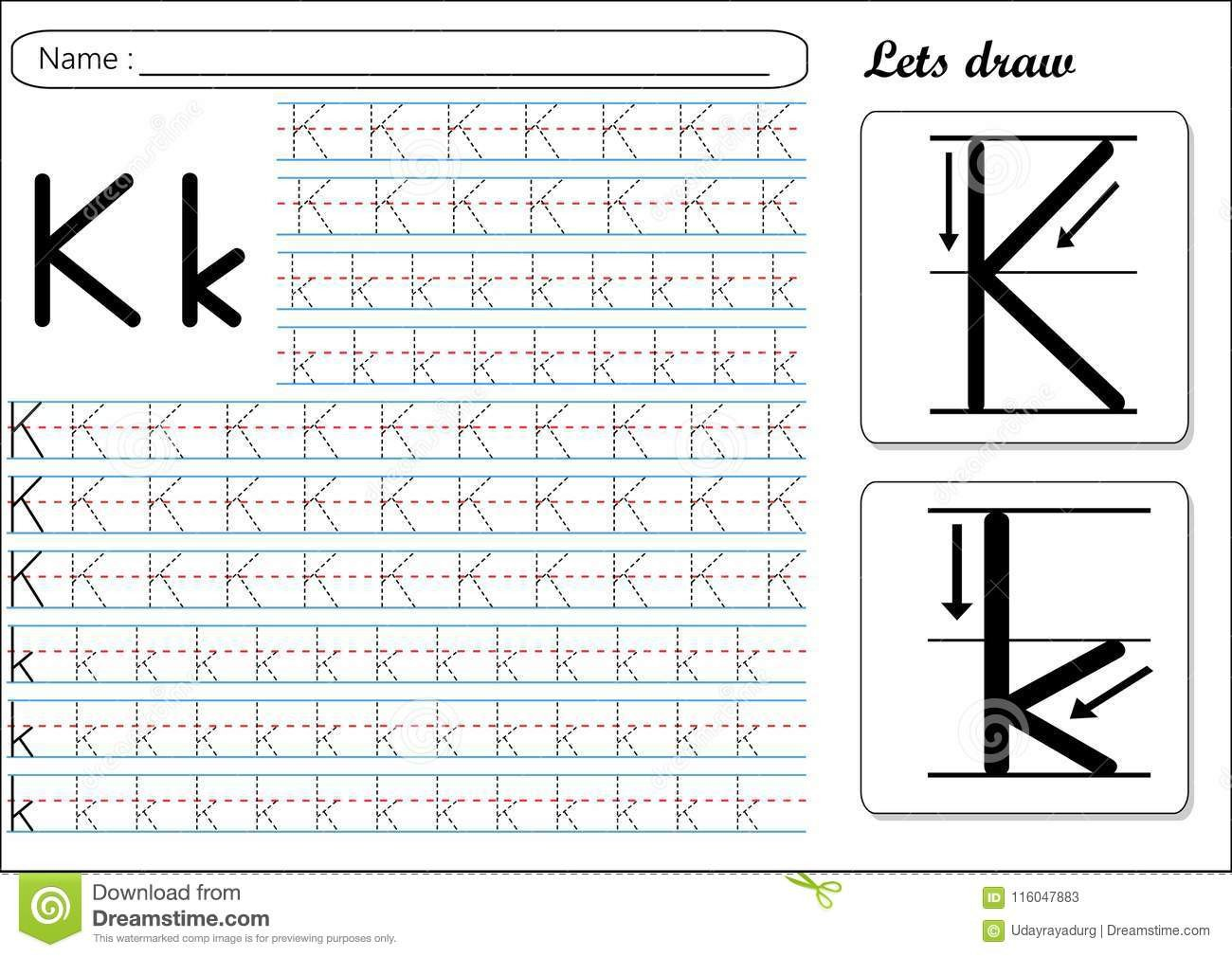 Letter K Tracing Worksheets Preschool Tracing Worksheet Kk Stock Vector Illustration Of Cursive