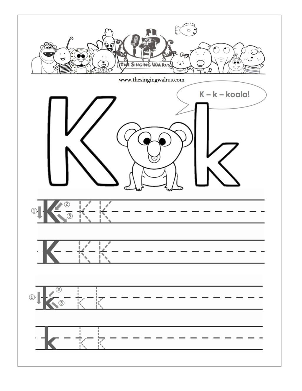 Letter K Tracing Worksheets Preschool Worksheet Free Printable Letter K Barkaorksheetorksheets