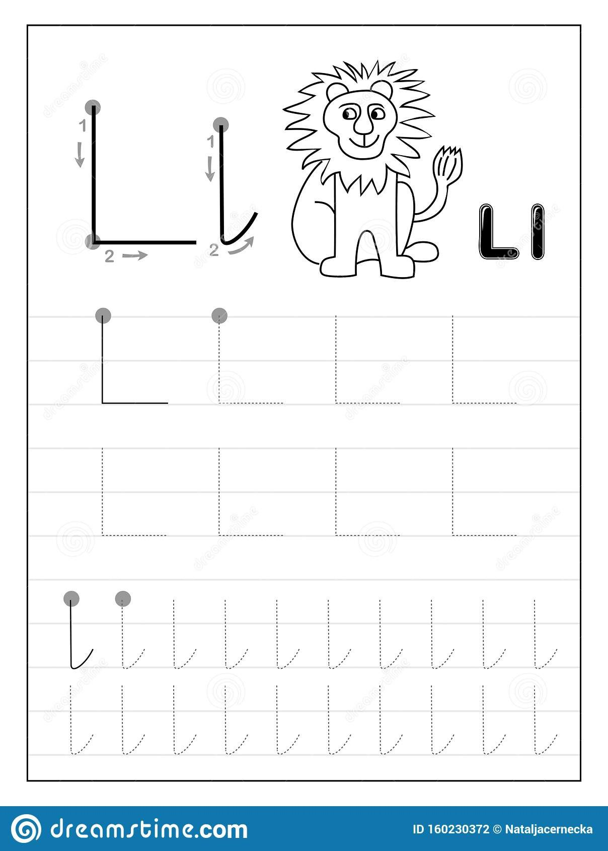 Letter L Worksheet for Preschool Tracing Alphabet Letter L Black and White Educational Pages