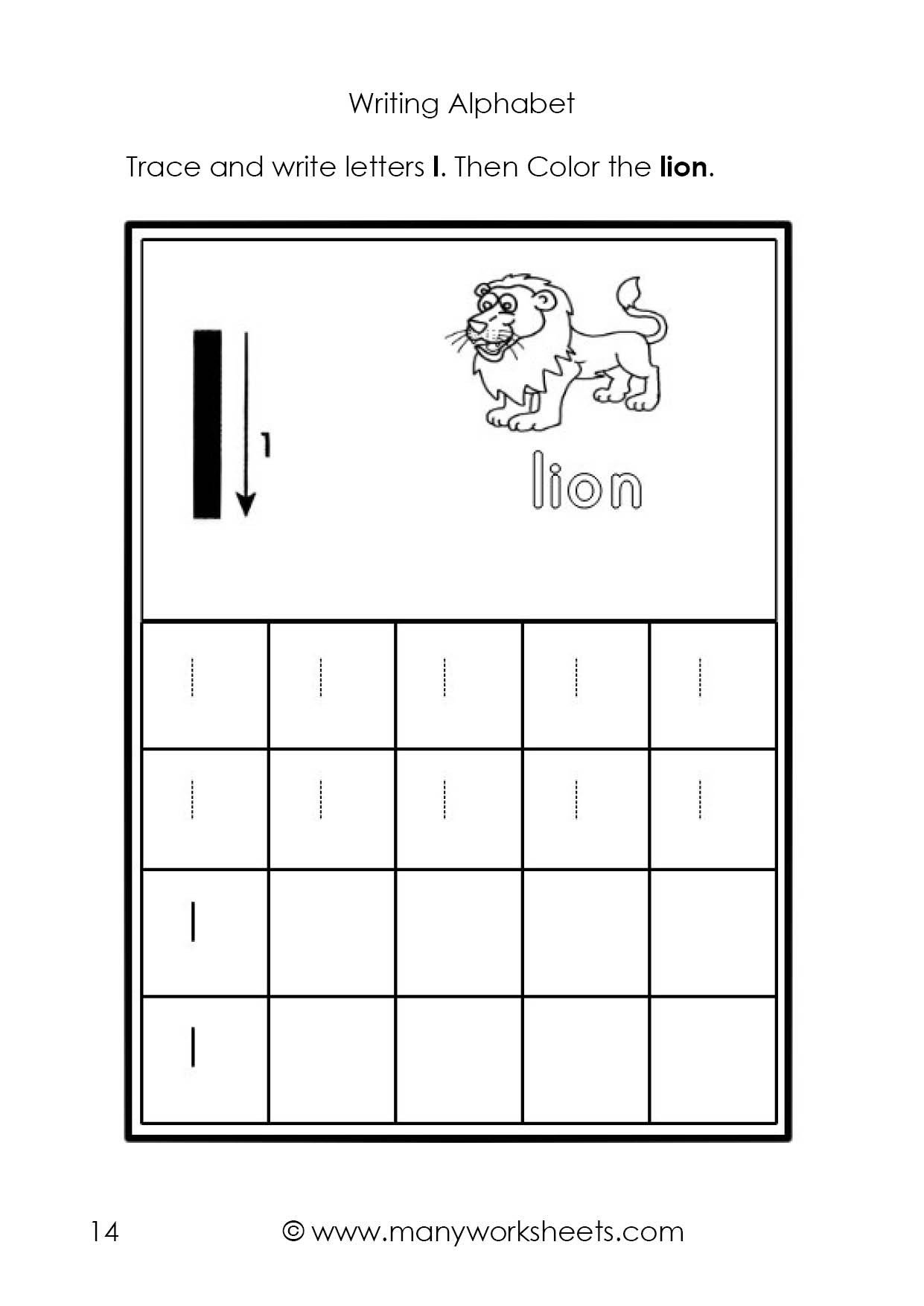 Letter L Worksheet for Preschool Tracing and Writing the Letters L
