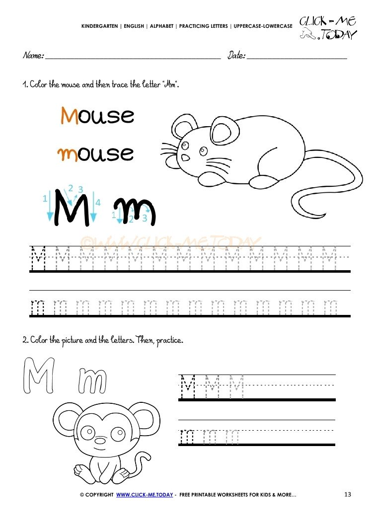 alphabet tracing worksheets 13