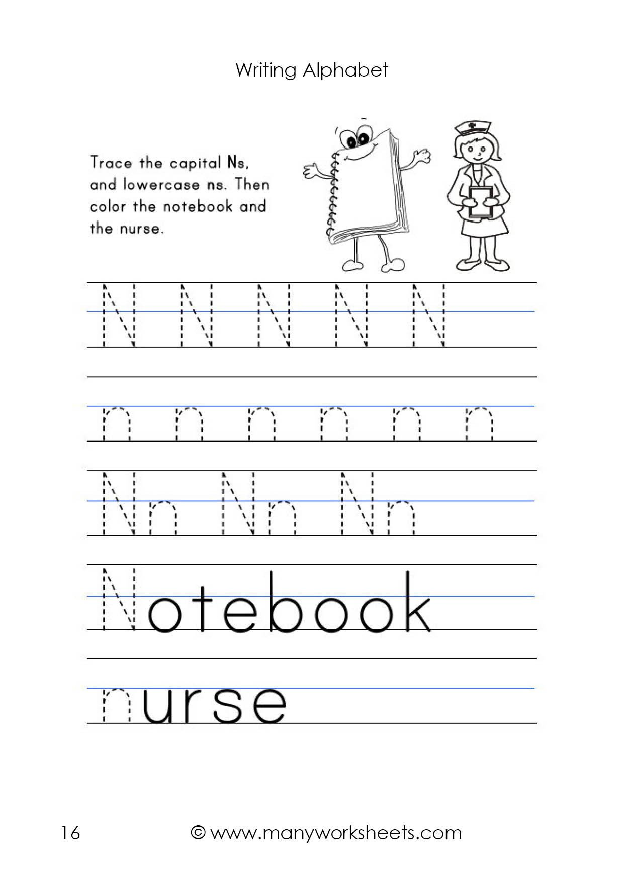Letter N Preschool Worksheets Letter N Worksheet – Tracing and Handwriting