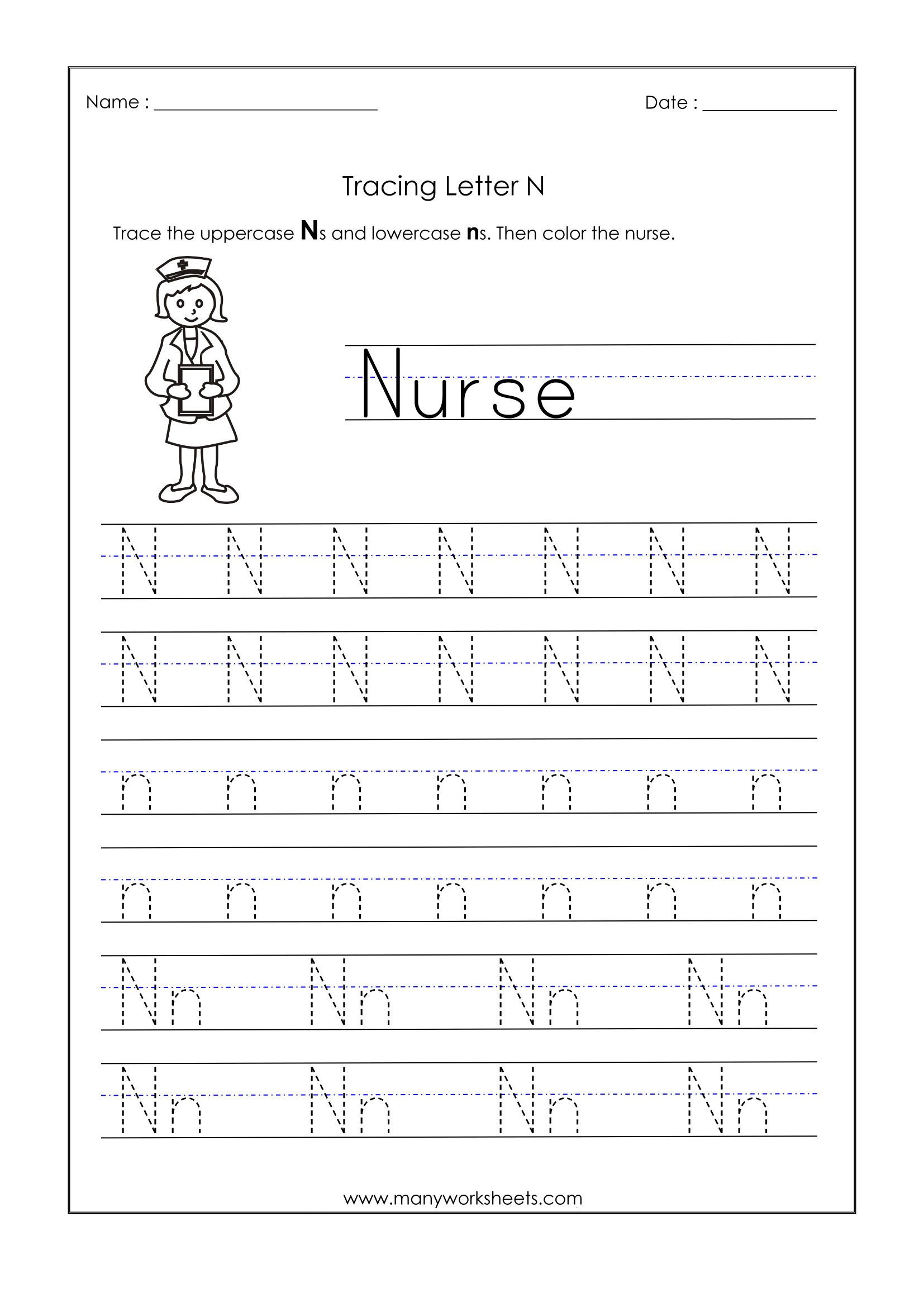 Letter N Preschool Worksheets Letter N Worksheets for Kindergarten – Trace Dotted Letters