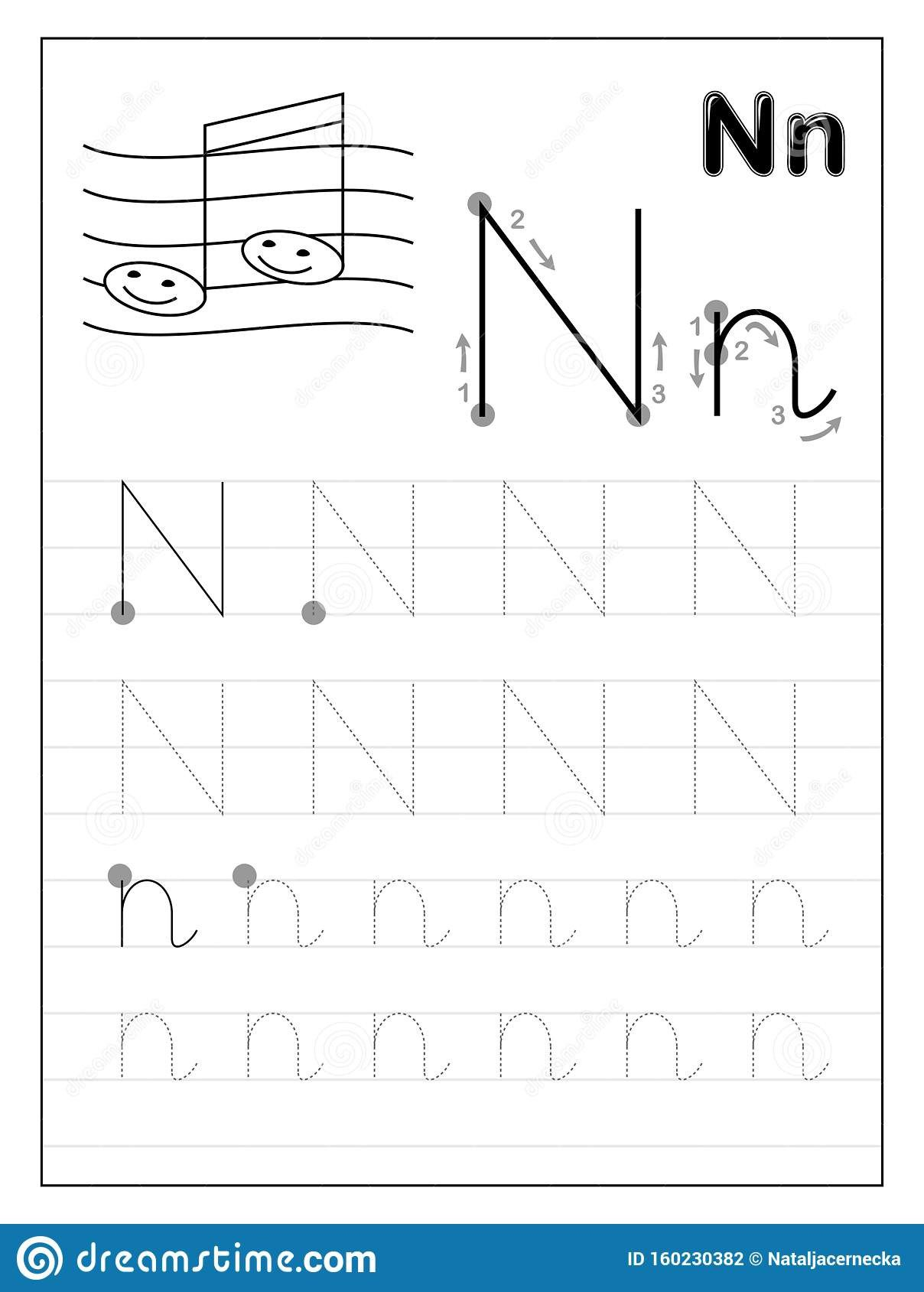 Letter N Preschool Worksheets Tracing Alphabet Letter N Black and White Educational Pages