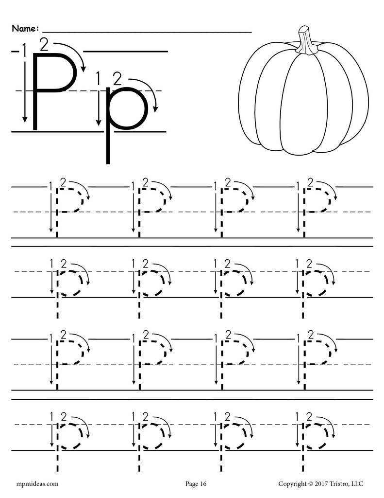 Letter P Tracing Worksheet Printable Letter P Tracing Worksheet with Number and Arrow Guides