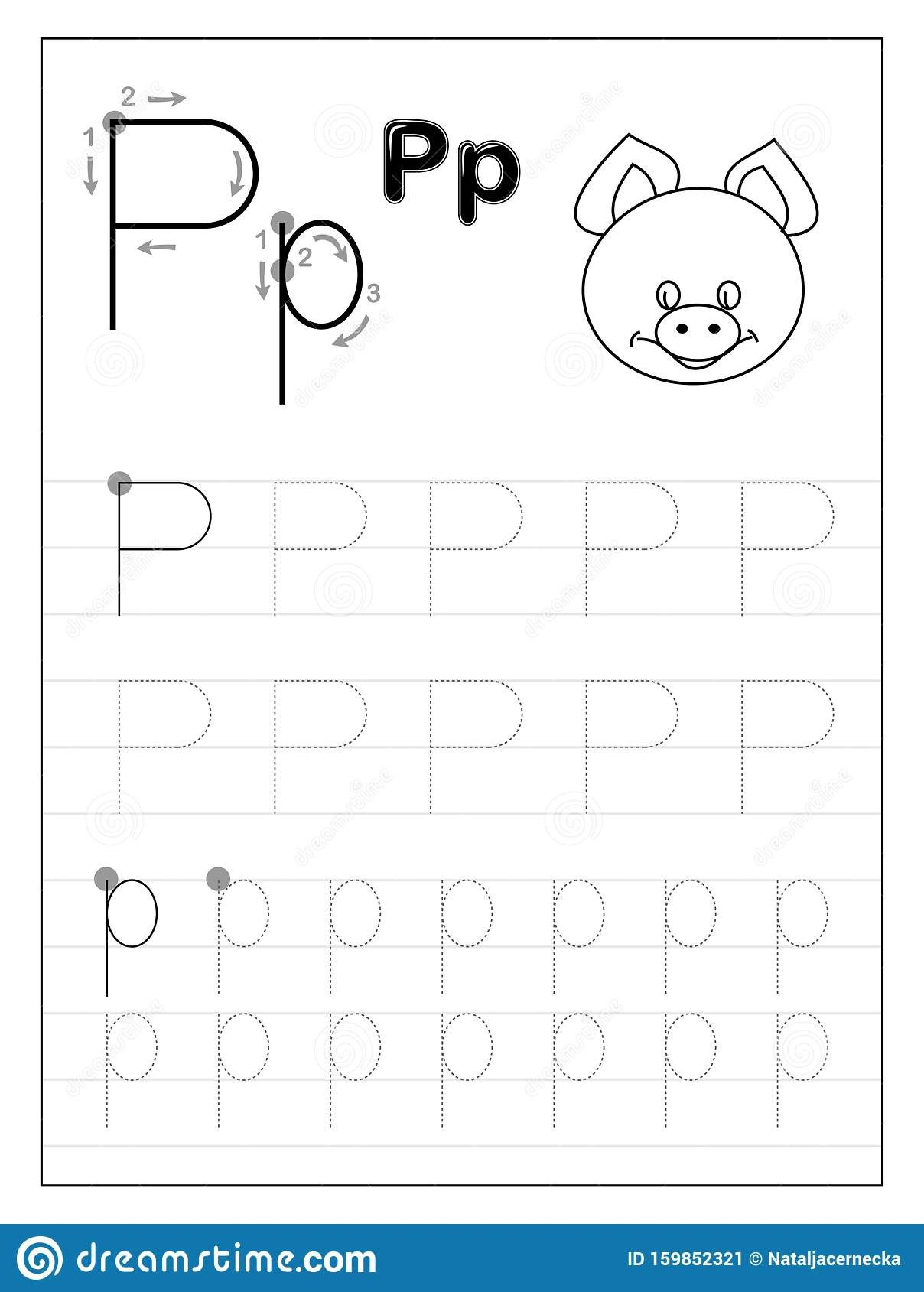 Letter P Tracing Worksheet Tracing Alphabet Letter P Black and White Educational Pages