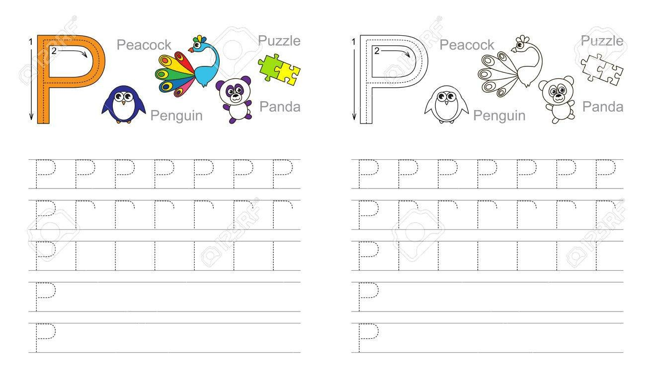 Letter P Tracing Worksheet Vector Exercise Illustrated Alphabet Learn Handwriting Page