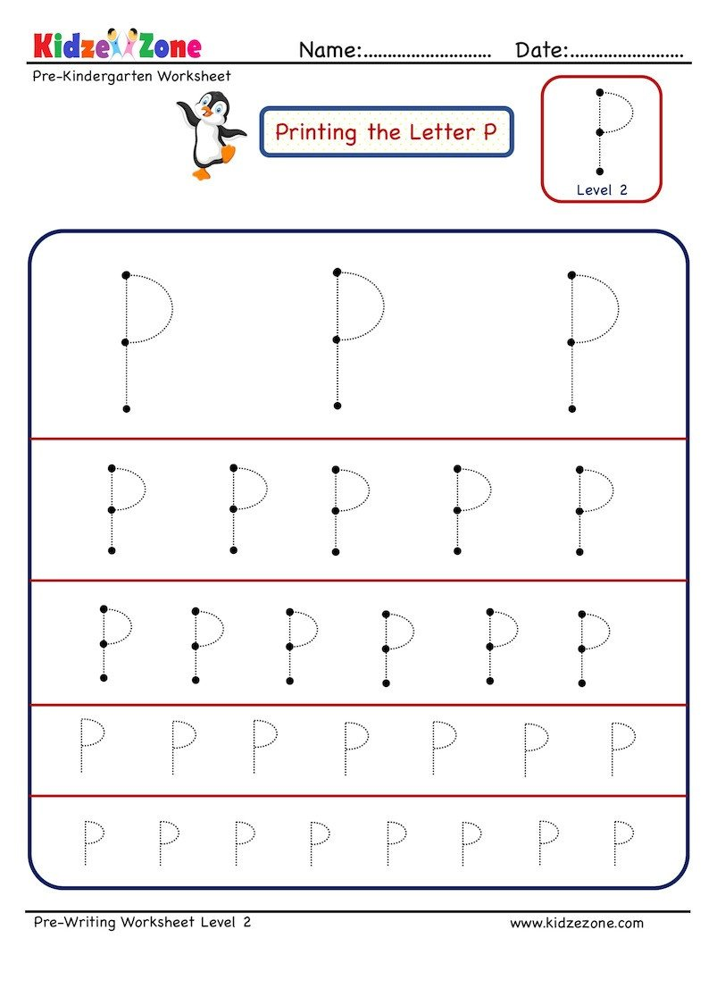 Pre Writing Letter P Tracing worksheet Different Sizes