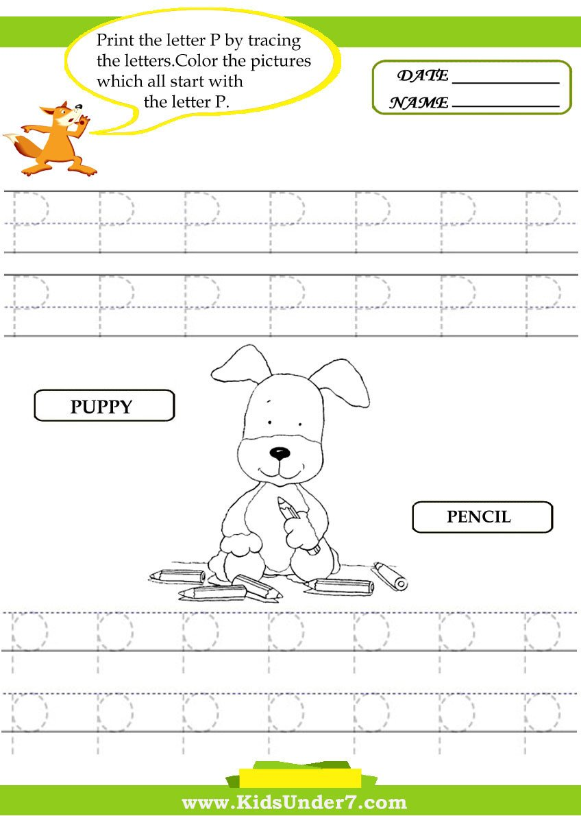 Letter P Worksheets for toddlers Kids Under 7 Alphabet Worksheets Trace and Print Letter P