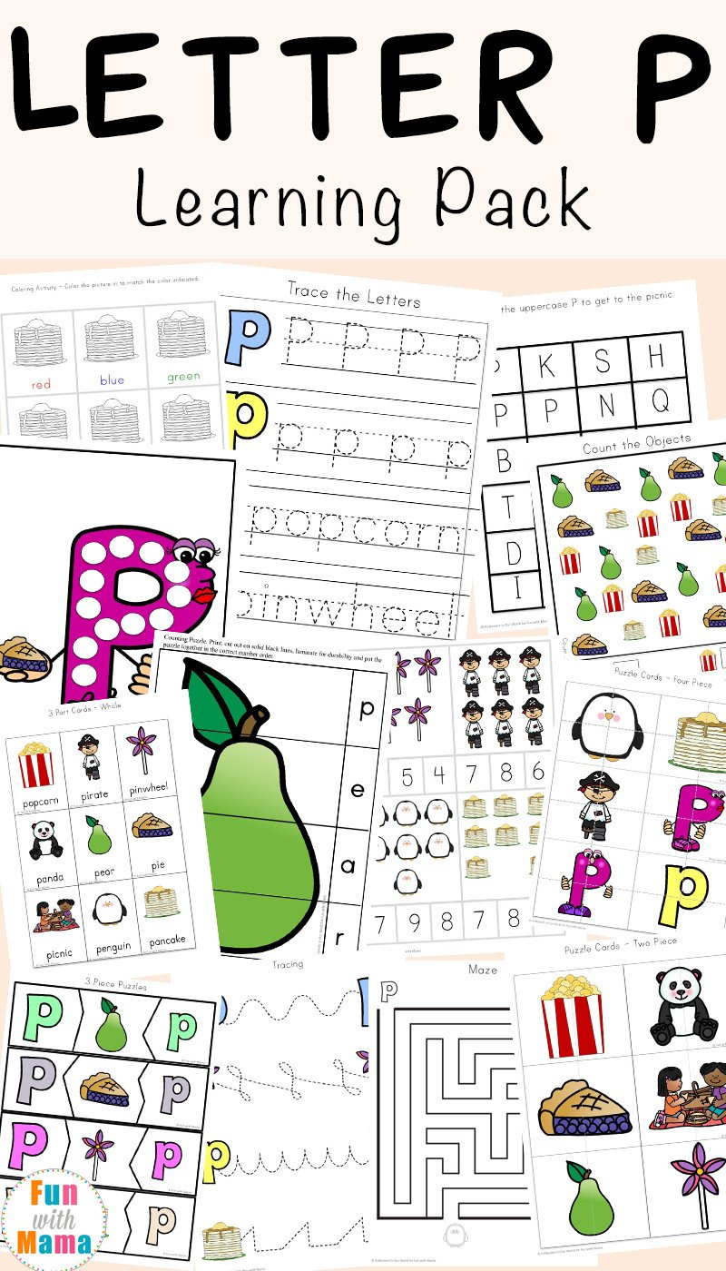 Letter P Worksheets for toddlers Letter P Worksheets Printables Fun with Mama