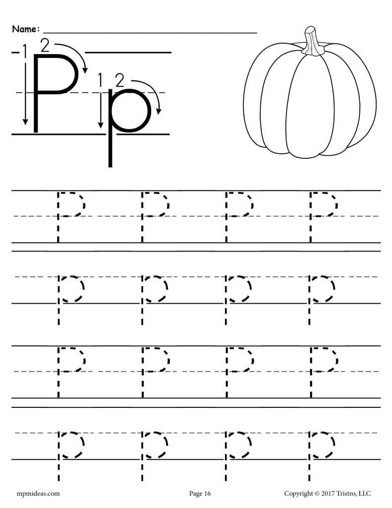 Letter P Worksheets for toddlers Printable Letter P Tracing Worksheet