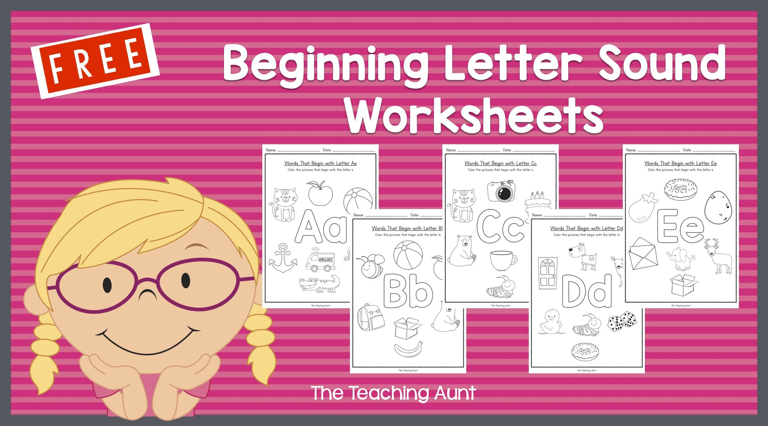 Letter sound Recognition Worksheets Free Beginning Letter sounds Worksheets the Teaching Aunt