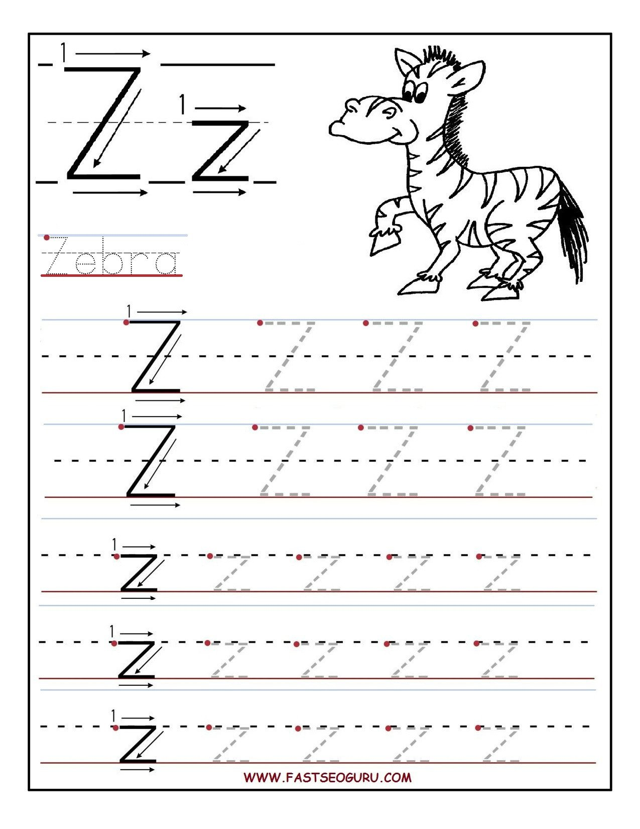 Letter Tracing Worksheets Az Printable Letter Tracing Worksheets for Preschool to