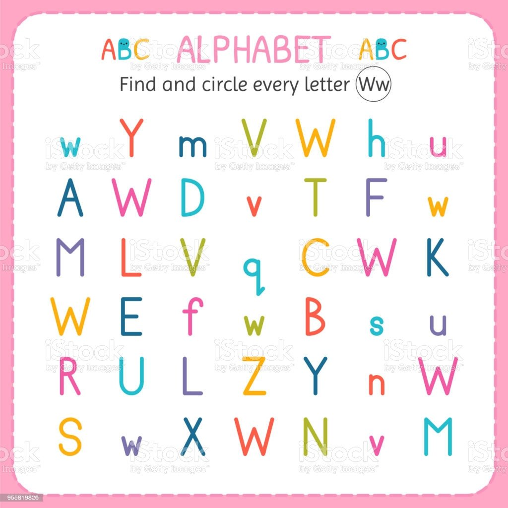 Letter W Worksheets for Preschoolers Find and Circle Every Letter W Worksheet for Kindergarten and Preschool Exercises for Children Stock Illustration Download Image now