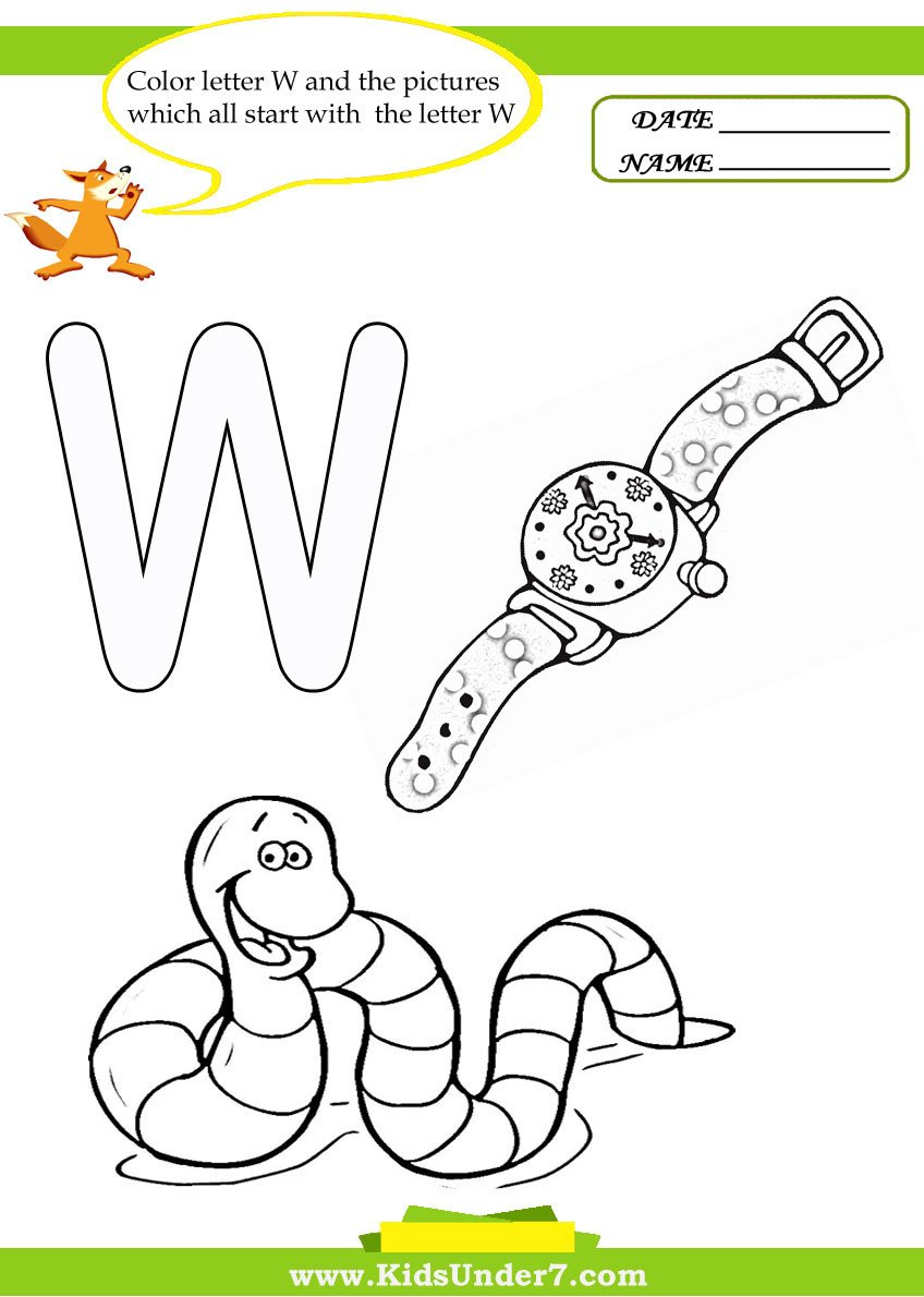 Letter W Worksheets for Preschoolers Kids Under 7 Letter W Worksheets and Coloring Pages
