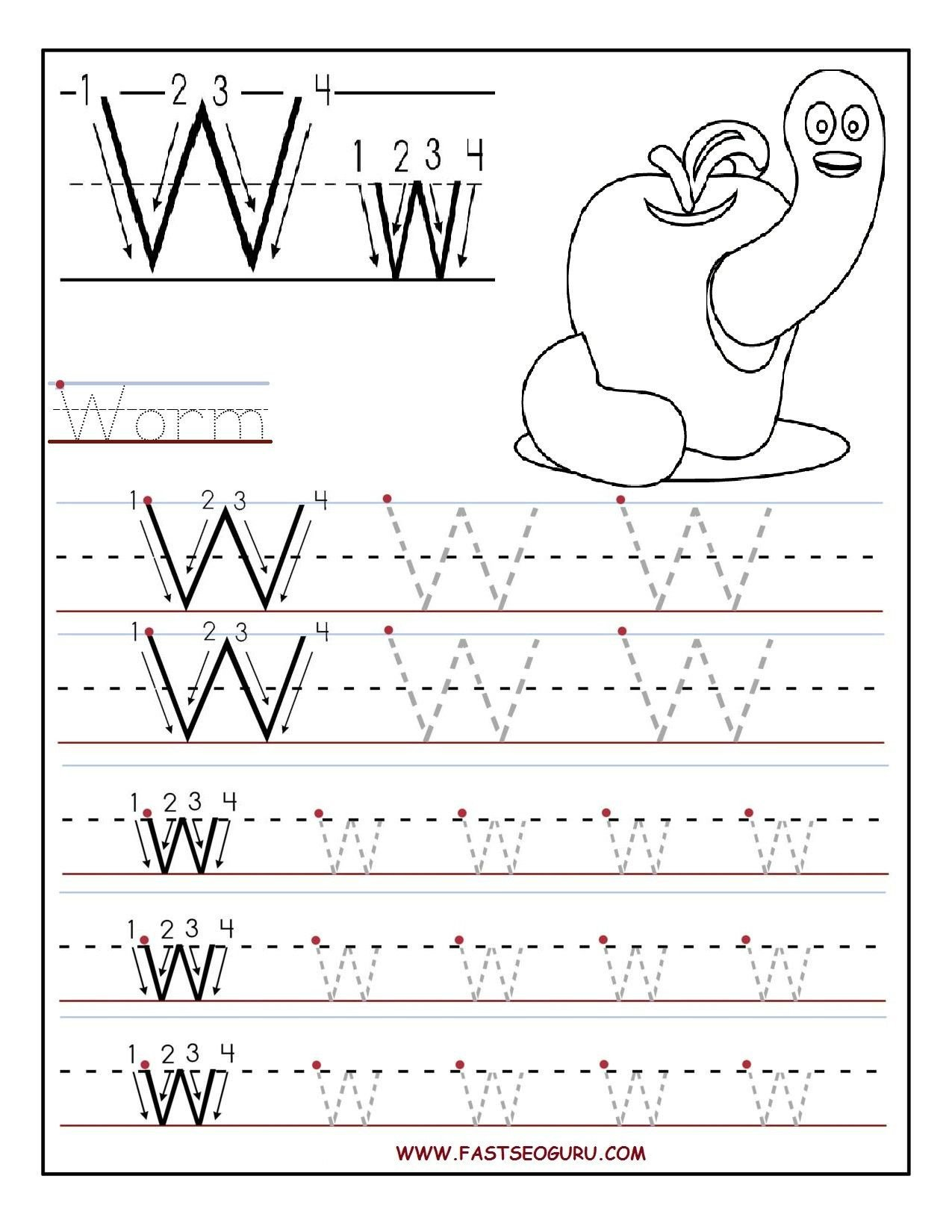 Letter W Worksheets for Preschoolers Printable Letter W Tracing Worksheets for Preschool