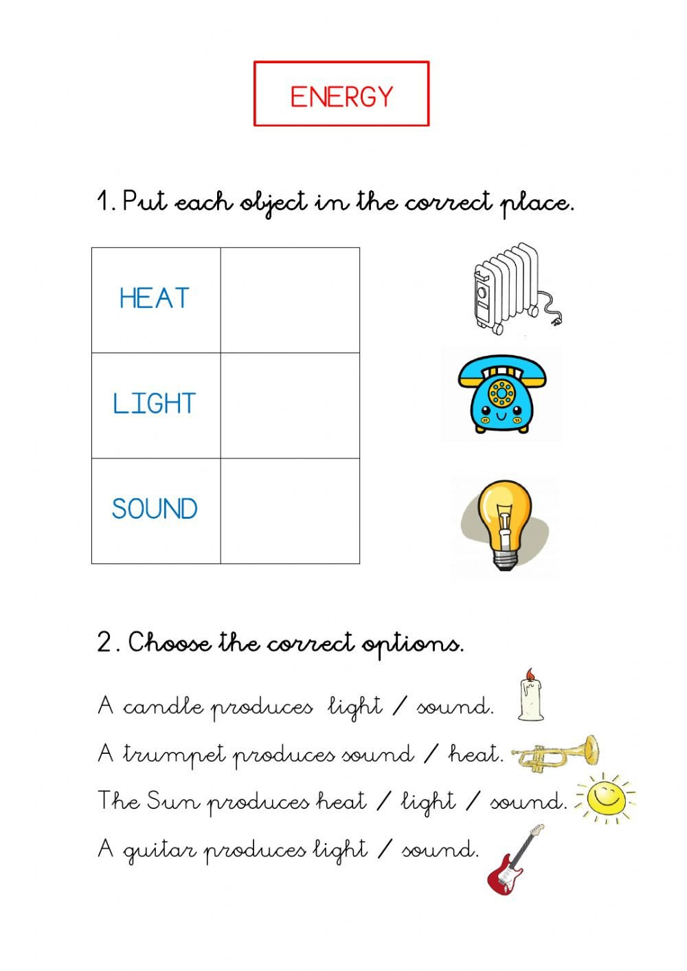 Light Energy Worksheets Energy Heat sound Light Interactive Worksheet