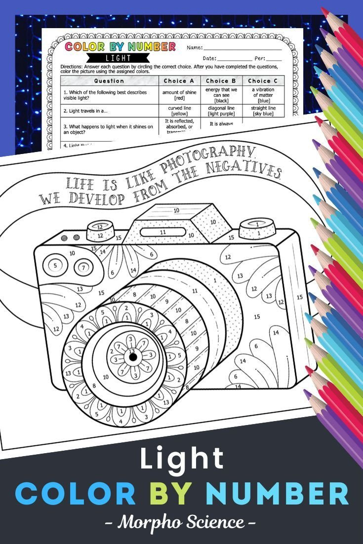 Light Energy Worksheets Light Color by Number Light Energy Worksheet In 2020