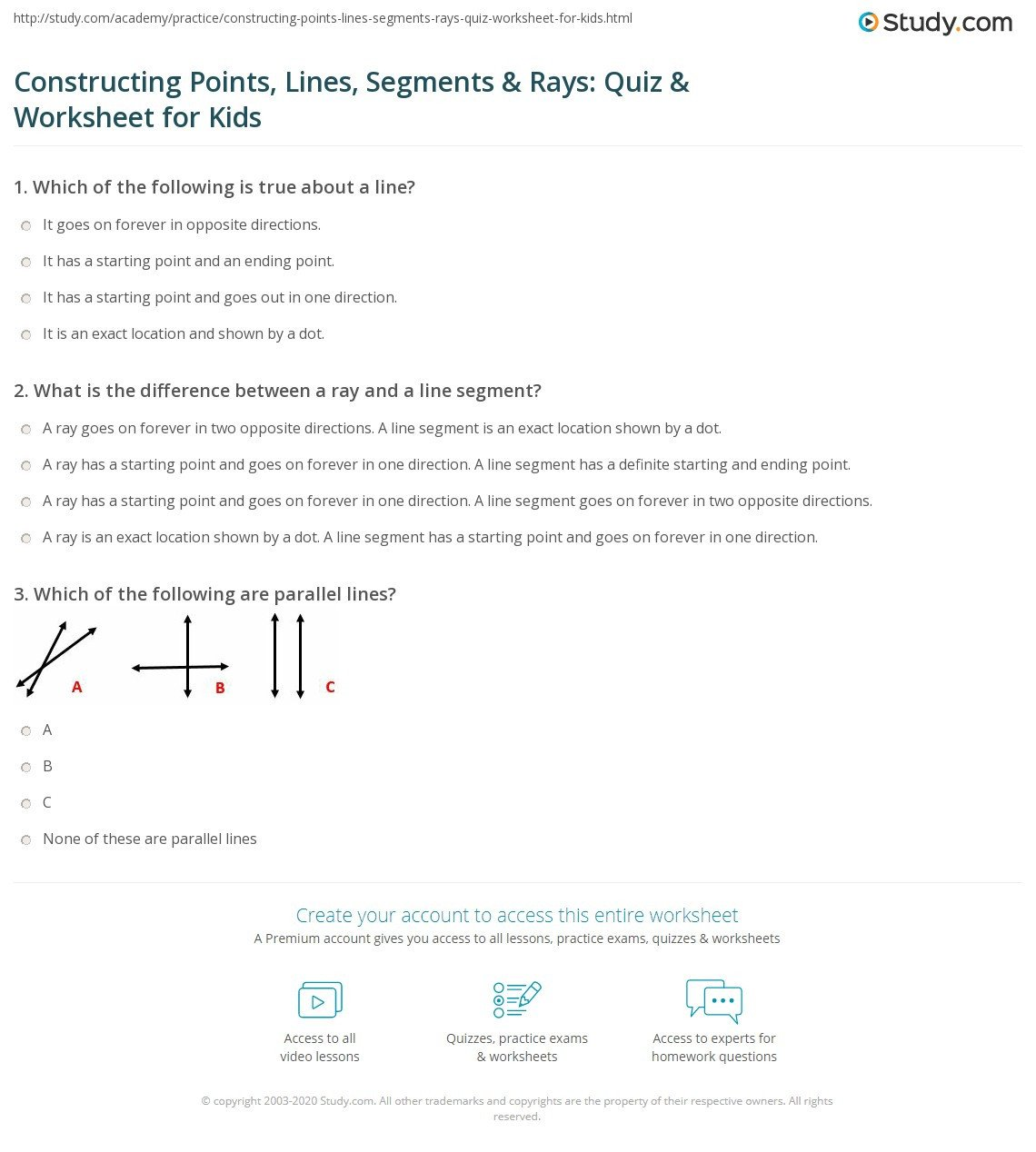 Lines Rays Line Segments Worksheets Constructing Points Lines Segments & Rays Quiz