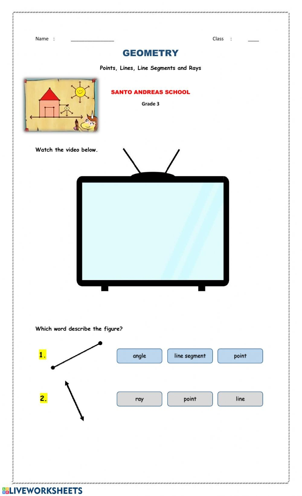 Lines Rays Line Segments Worksheets Points Lines Line Segments and Rays Interactive Worksheet