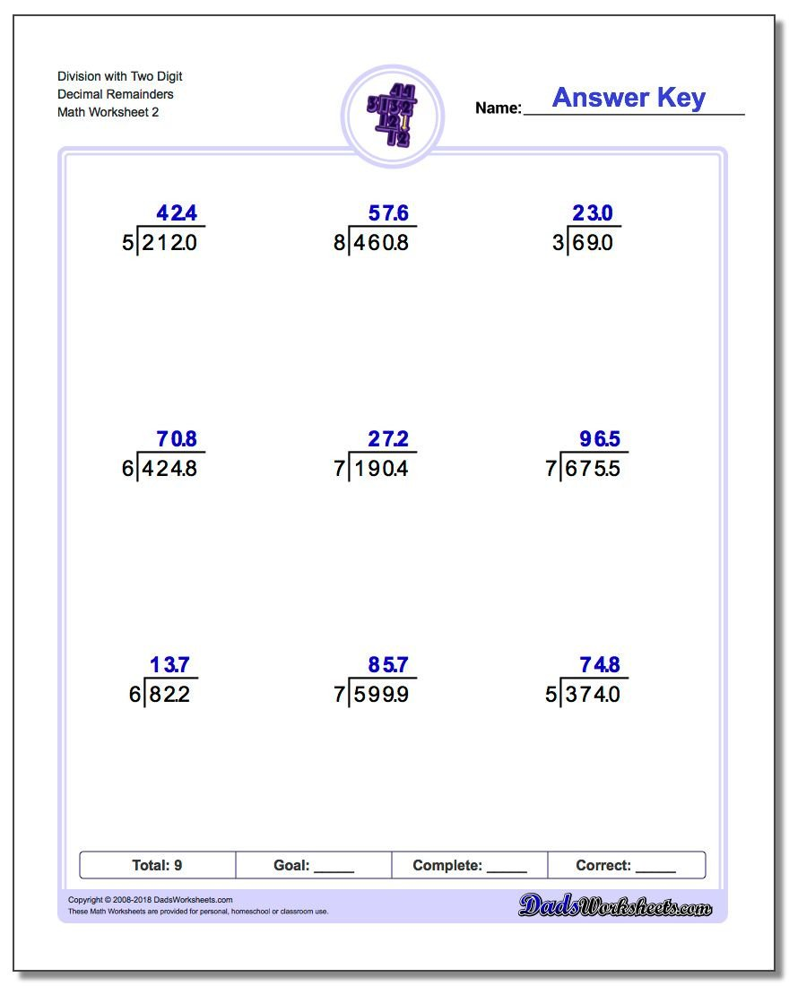 Long Division Decimals Worksheet Division with Decimal Results