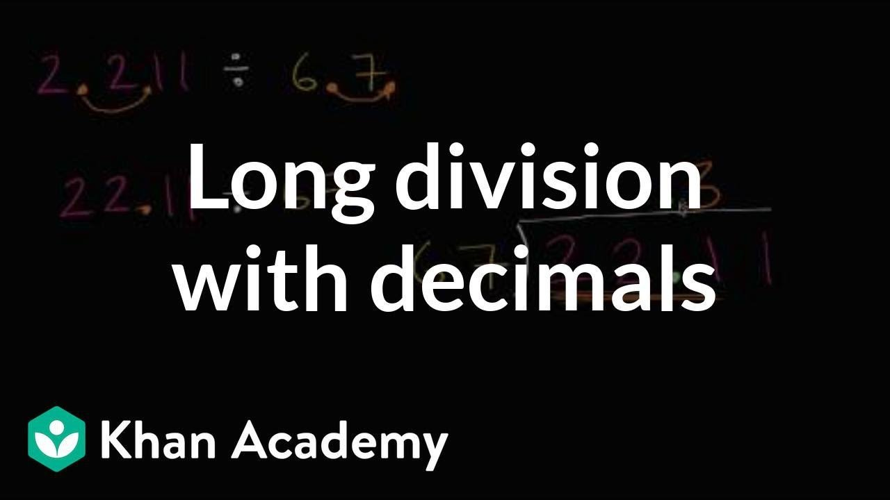 Long Division Decimals Worksheet Long Division with Decimals Video