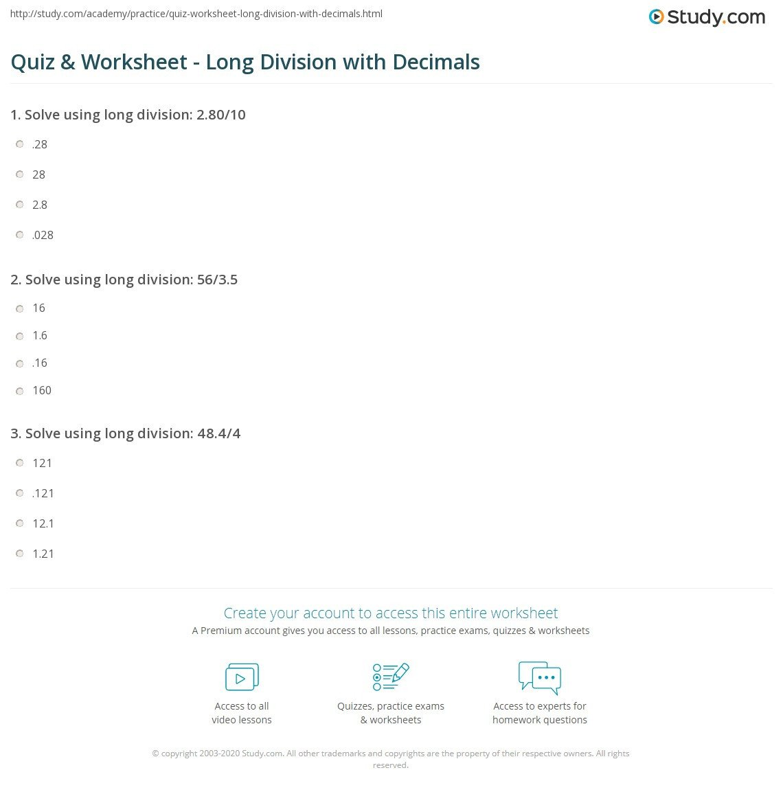 Long Division Decimals Worksheet Quiz & Worksheet Long Division with Decimals
