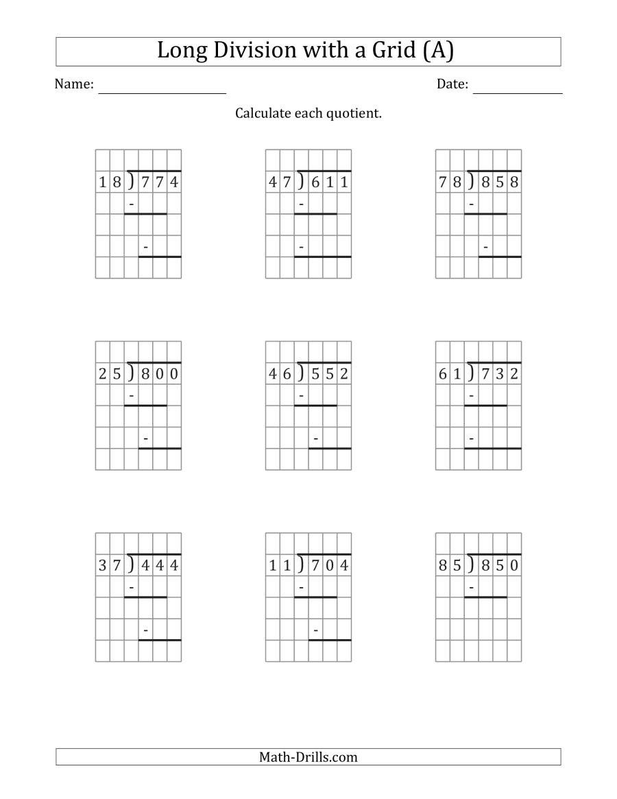 Long Division without Remainders Worksheet 3 Digit by 2 Digit Long Division with Grid assistance and