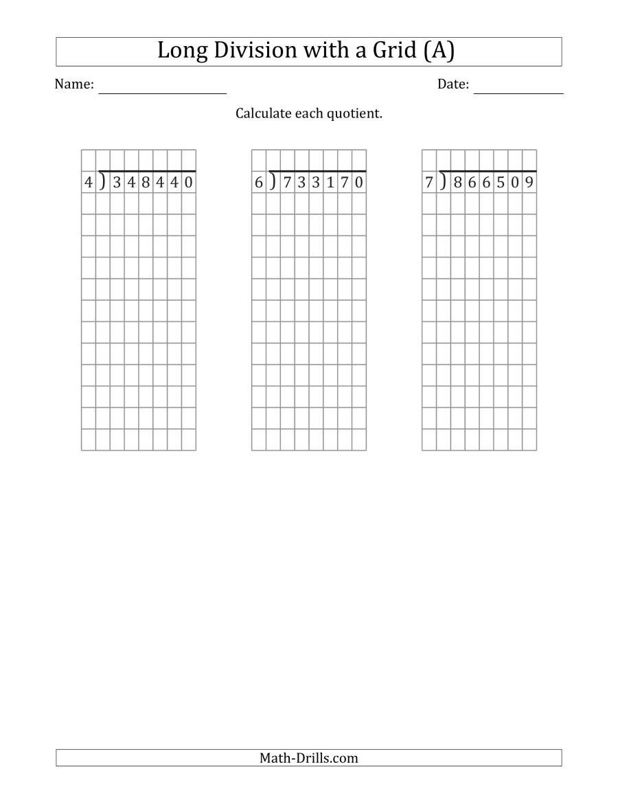 Long Division without Remainders Worksheet 6 Digit by 1 Digit Long Division with Grid assistance and No