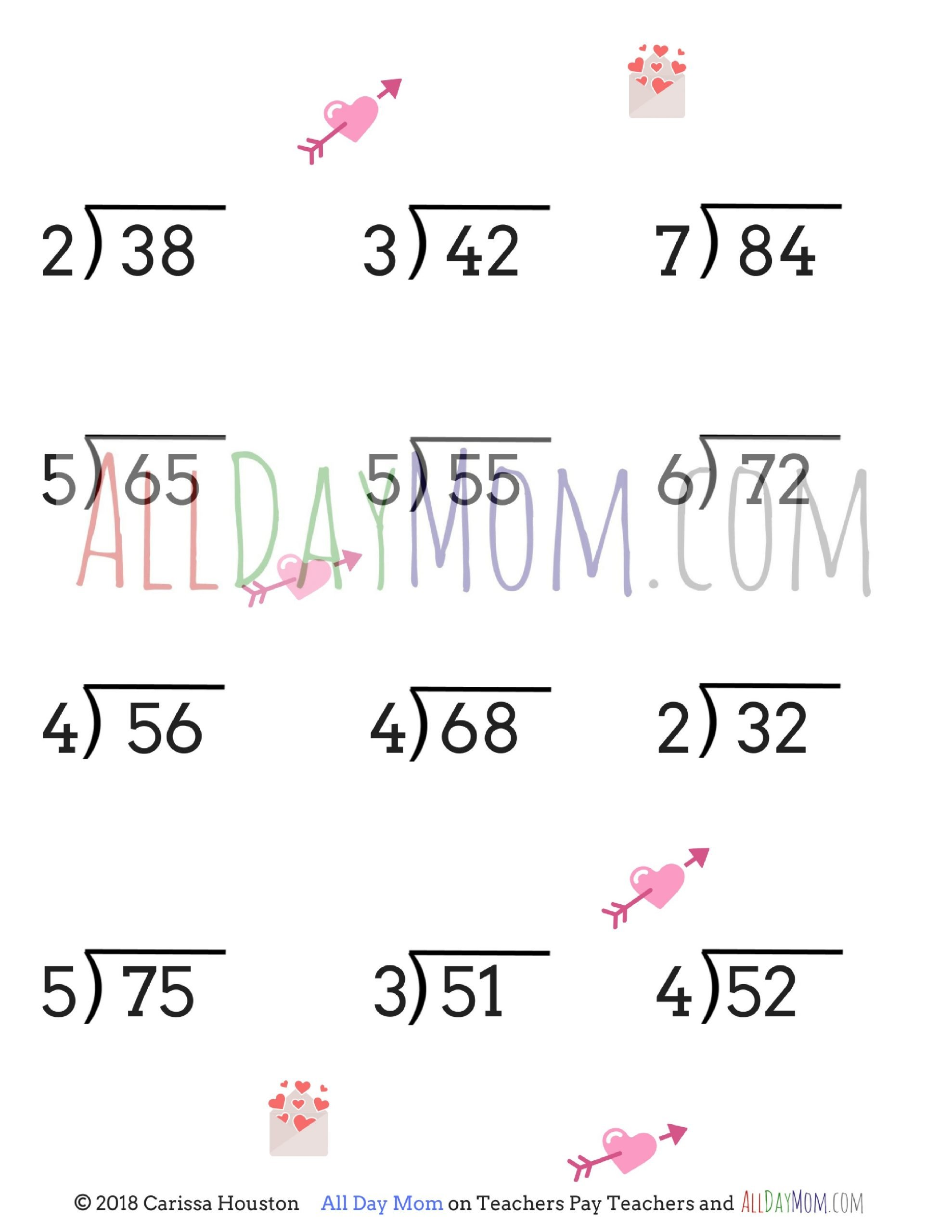 Long Division without Remainders Worksheet Free Printable Valentine S Day Math Worksheets
