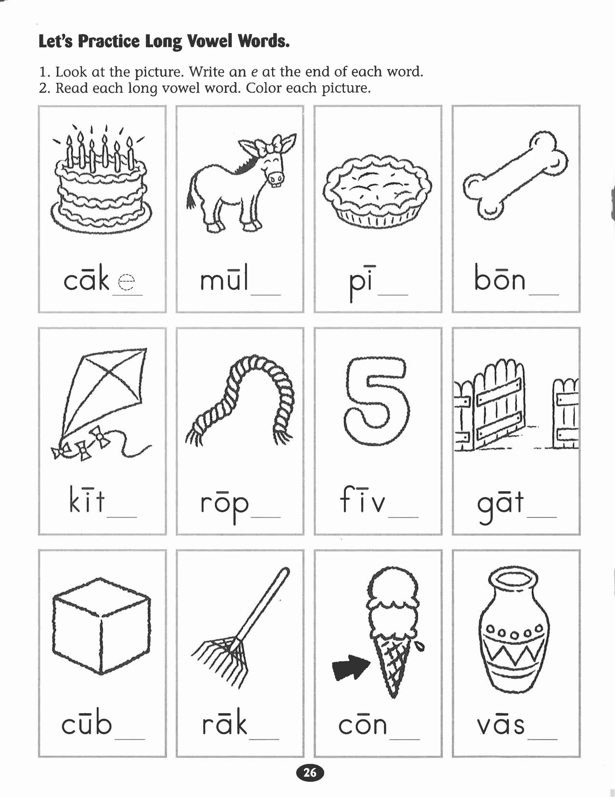 Long Vowel Worksheets for Kindergarten Long Vowel Practice Worksheets