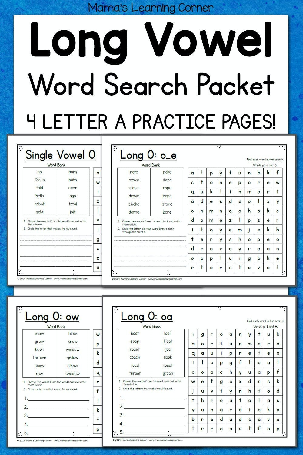 Long Vowel Worksheets for Kindergarten Long Vowel Word Search Puzzles Mamas Learning Corner