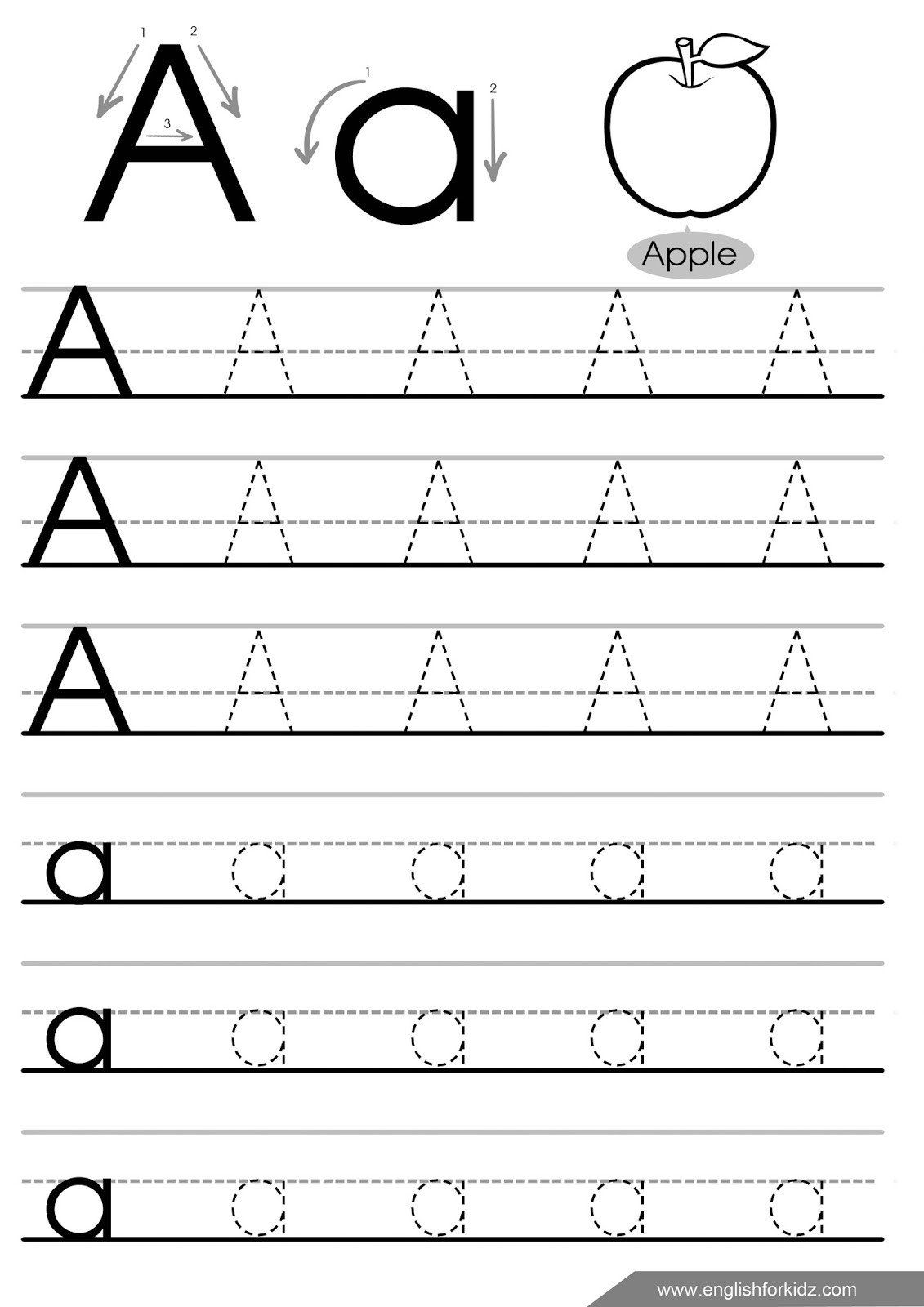 Lowercase Letter Tracing Worksheet Letter Tracing Worksheets Letters A J