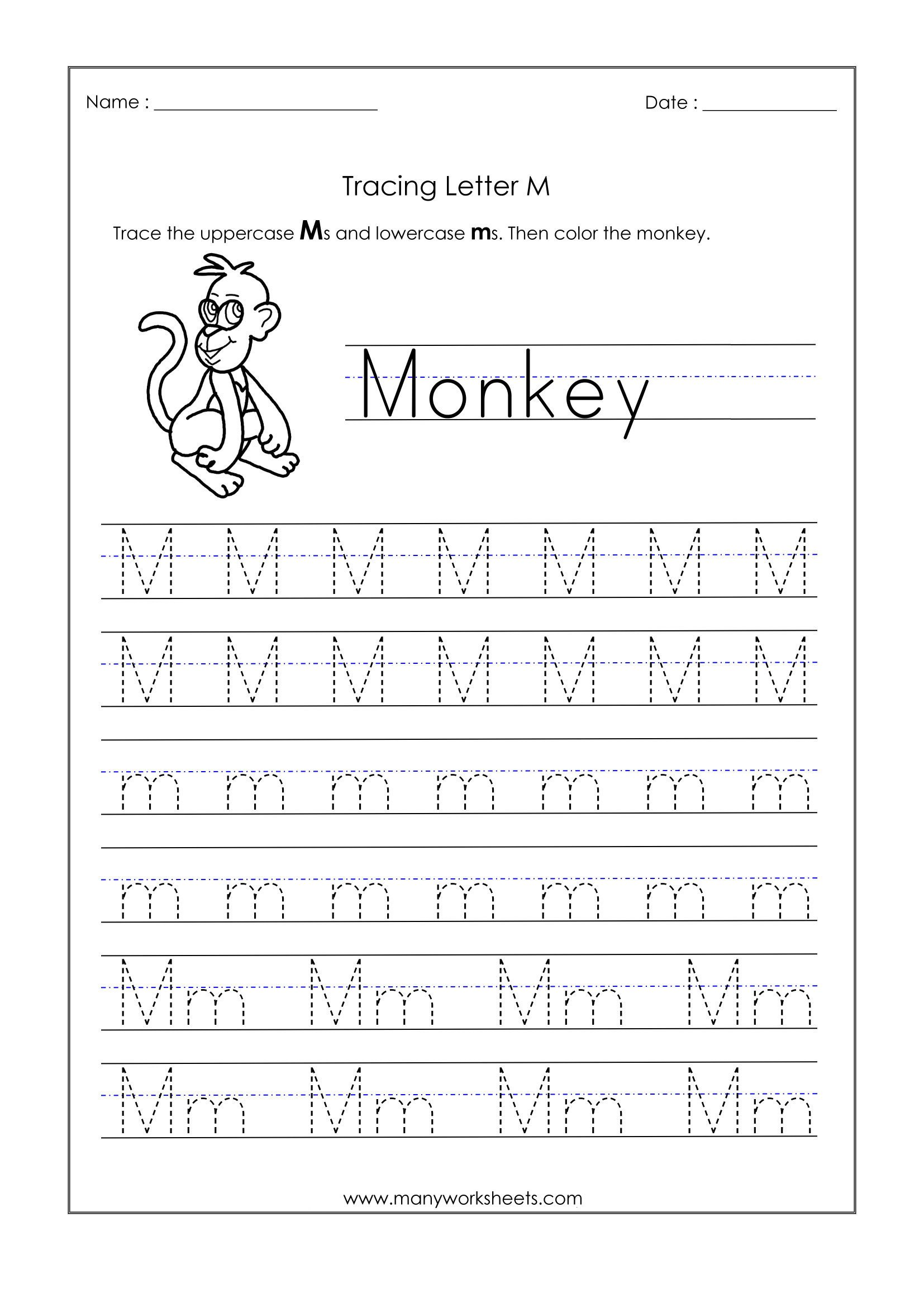 M Worksheets Preschool Math Worksheet 42 Kindergarten Tracing Worksheets Picture
