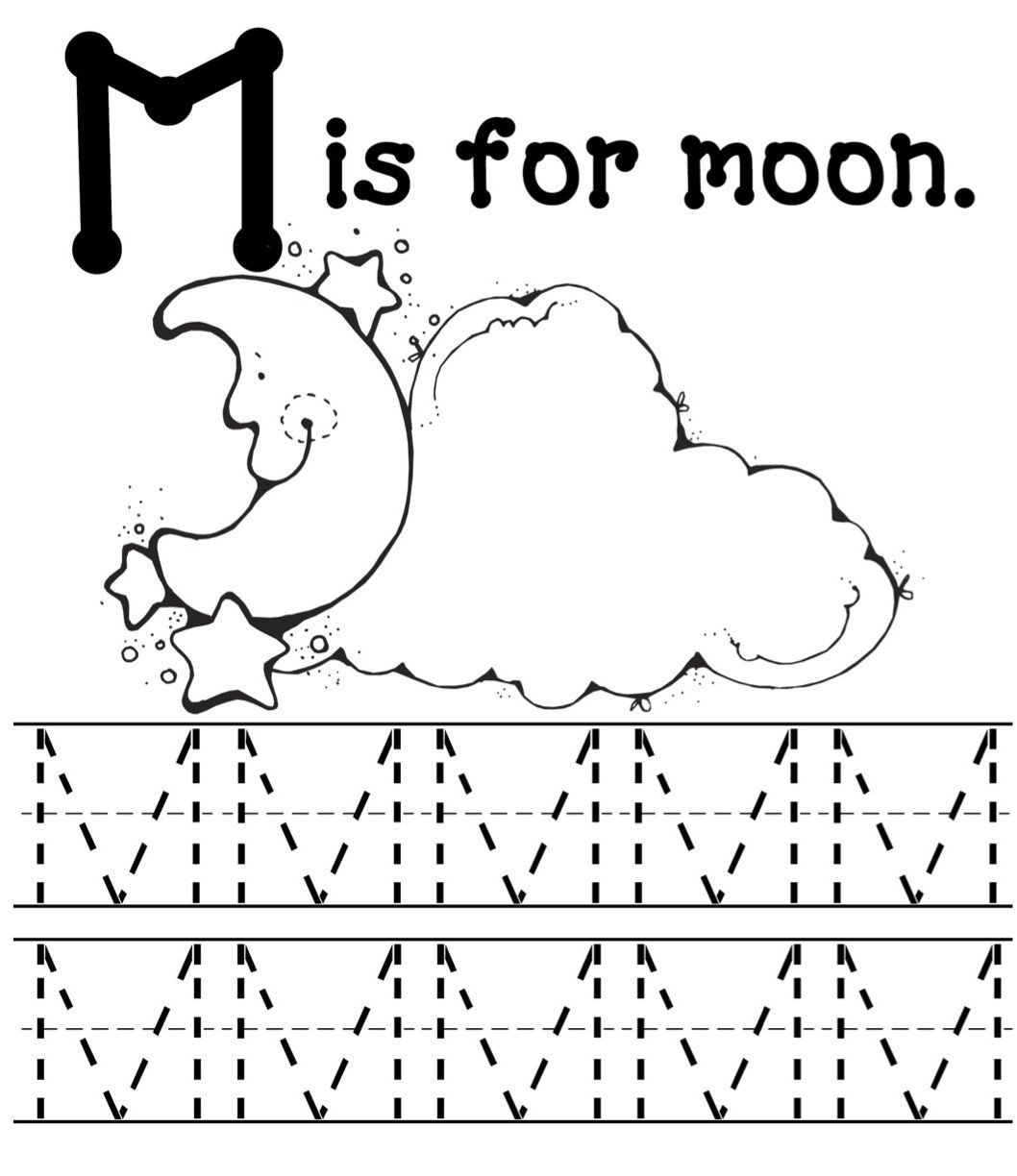 M Worksheets Preschool Moon Mommy School Blog