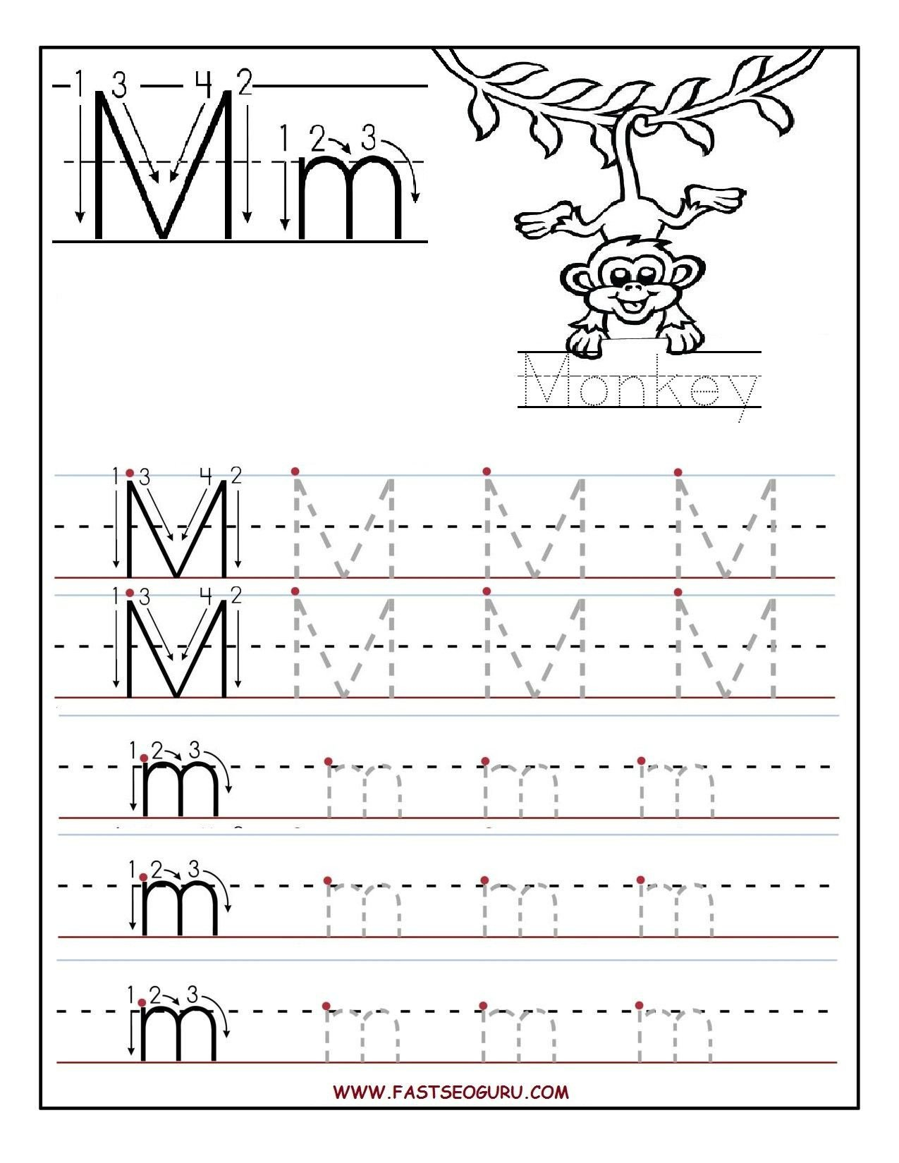 M Worksheets Preschool Printable Letter M Tracing Worksheets for Preschool