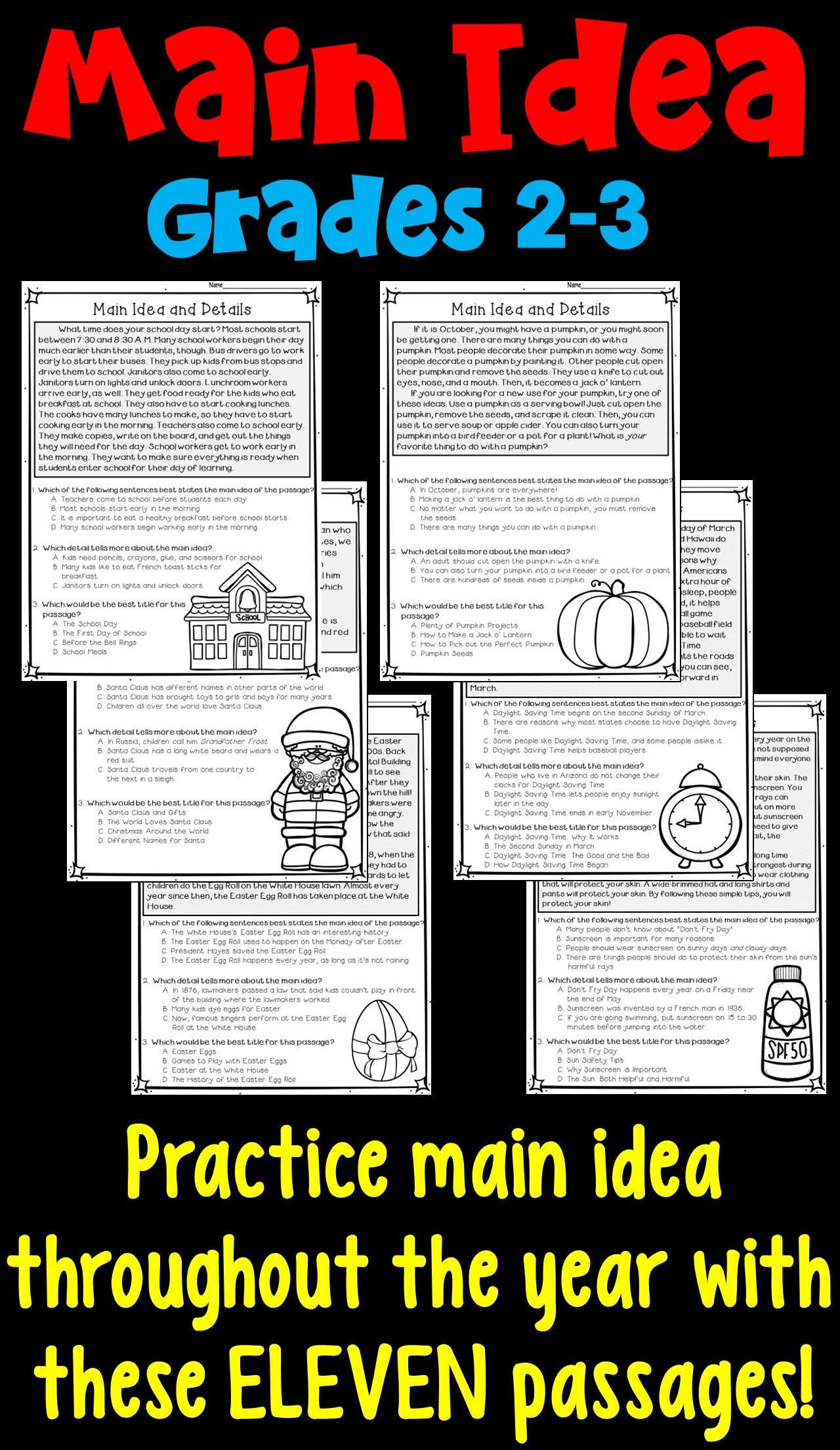 Main Idea 3rd Grade Worksheets Main Idea and Supporting Details Worksheets for 2nd and 3rd
