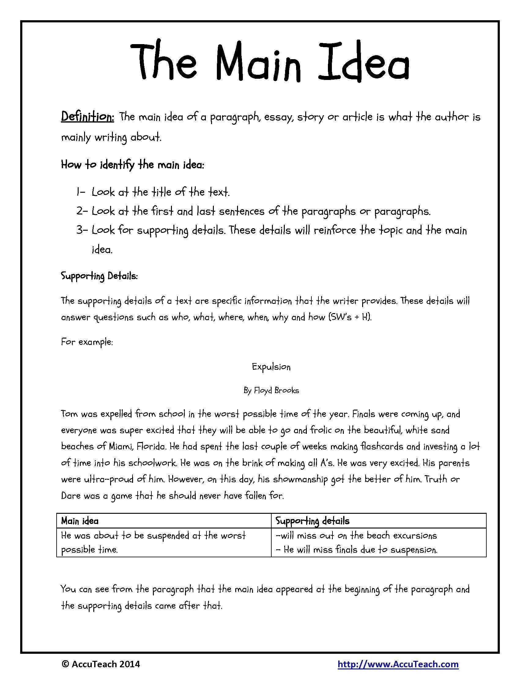 Main Idea 3rd Grade Worksheets Main Idea Worksheets Grade 3
