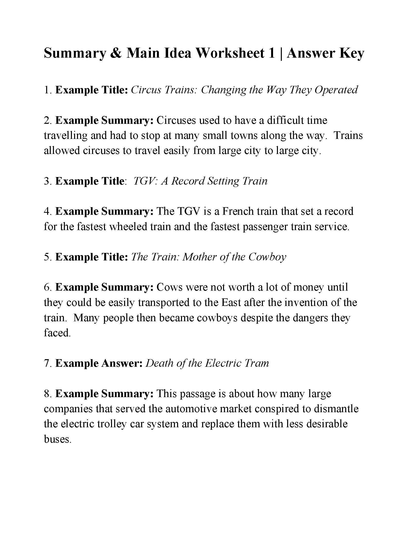 Main Idea and Summary Worksheets This is the Answer Key for the Summary and Main Idea