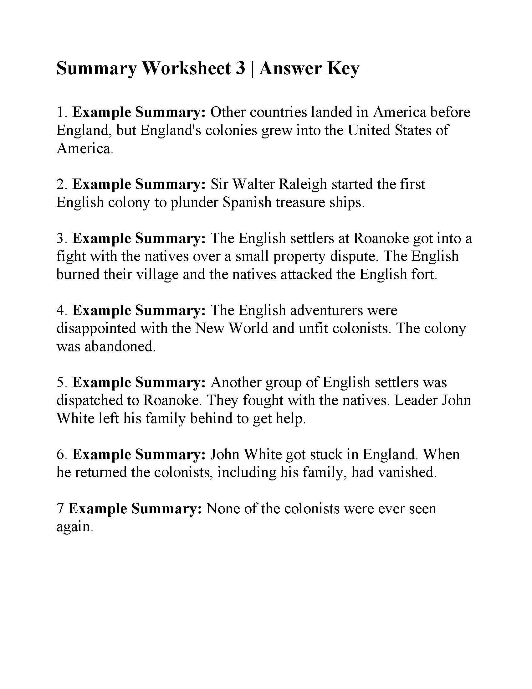 Main Idea and Summary Worksheets This is the Answer Key for the Summary Worksheet 3