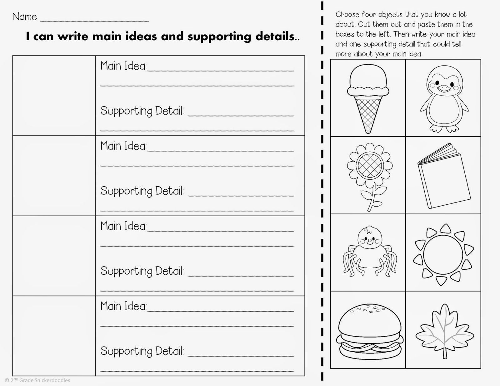 Main Idea Kindergarten Worksheets 2nd Grade Snickerdoodles Main Idea and Supporting Details