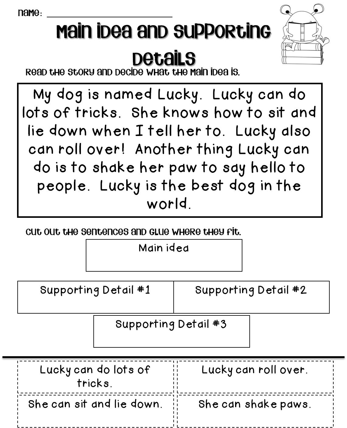 main idea worksheets print printable and activities free 2nd grade for ten frame math