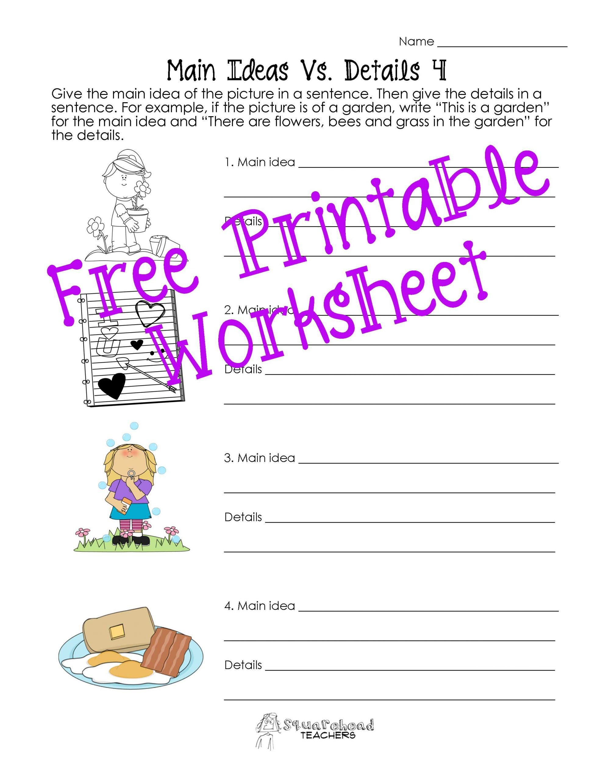 Main Idea Kindergarten Worksheets Main Idea Vs Details Worksheets Post 2