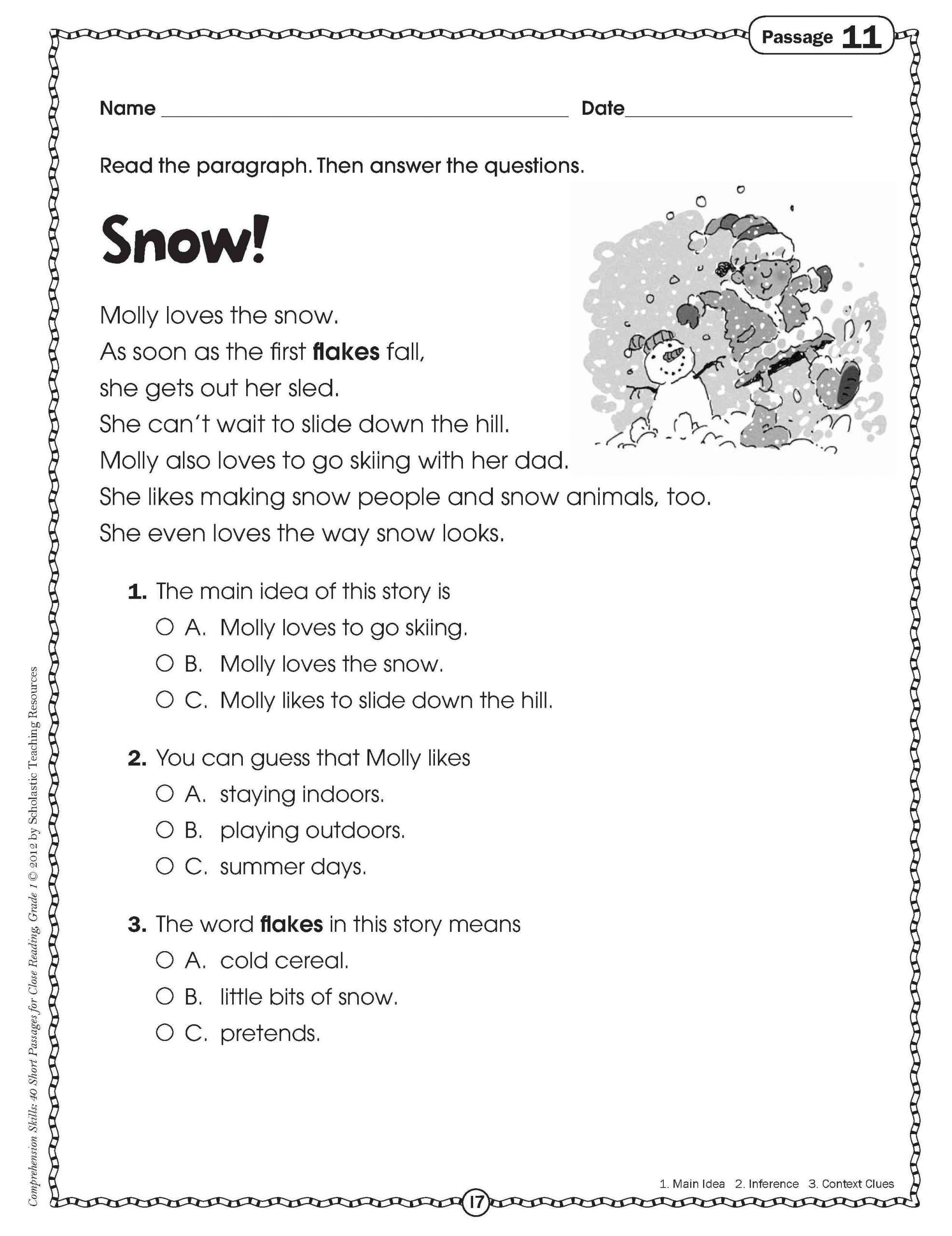 Main Idea Worksheets Grade 1 4 Sample Grade 1 Reading Prehension Preschool Report Card