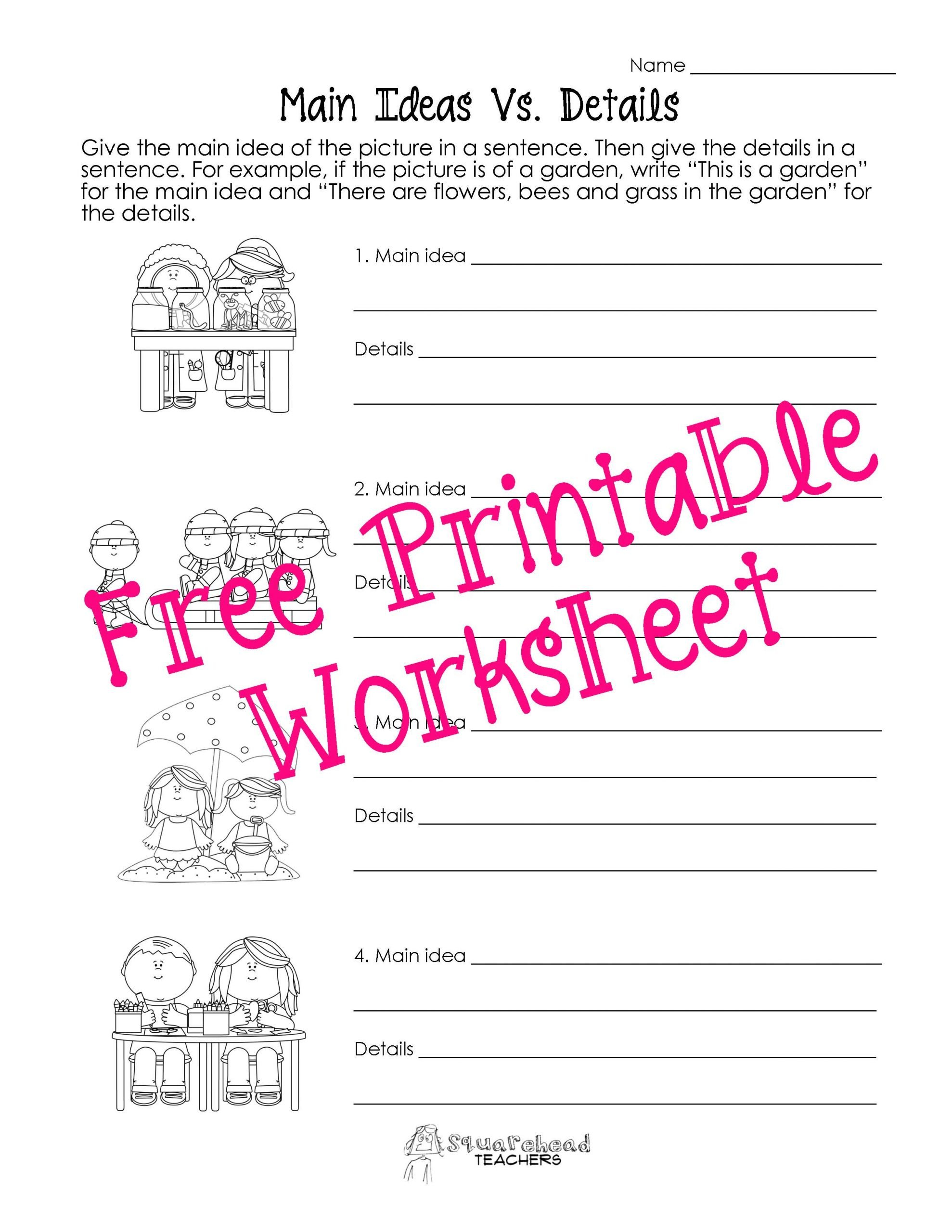 Main Idea Worksheets Grade 1 Main Idea Vs Details Worksheets