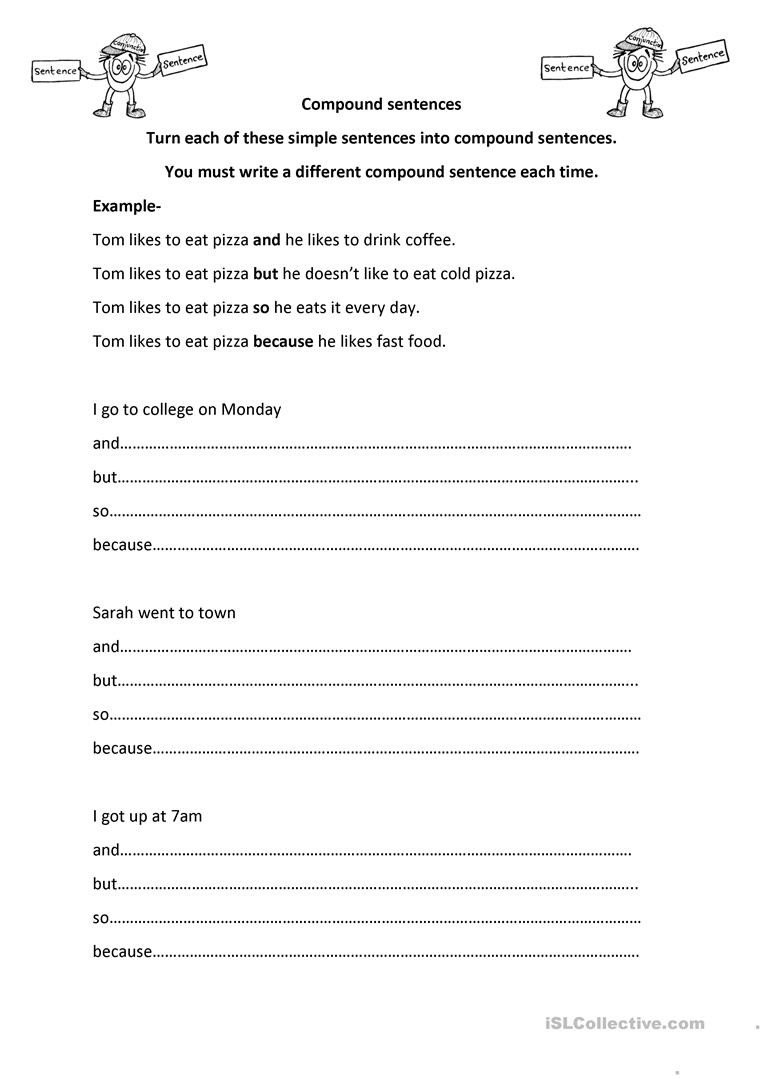 Making Compound Sentences Worksheets Making Pound Sentences English Esl Worksheets for