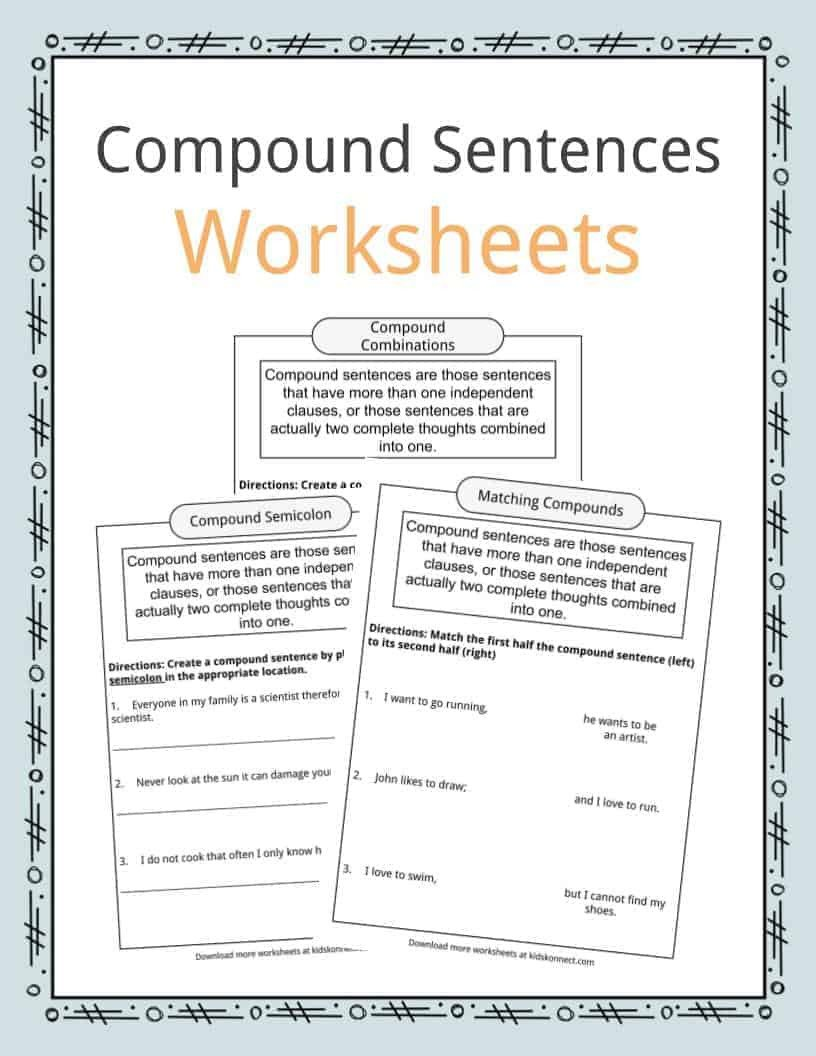 Making Compound Sentences Worksheets Pound Sentences Worksheets Examples & Definition for Kids