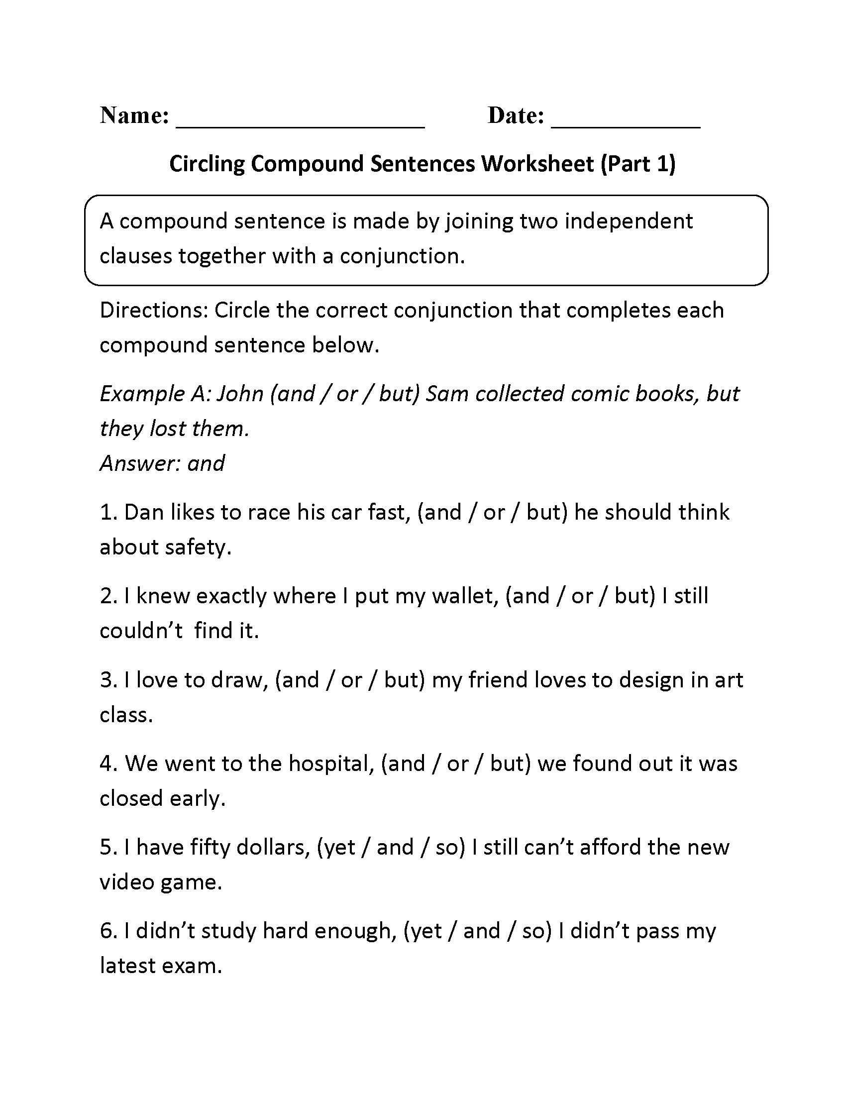 Making Compound Sentences Worksheets Worksheet for Mas In Pound Sentences